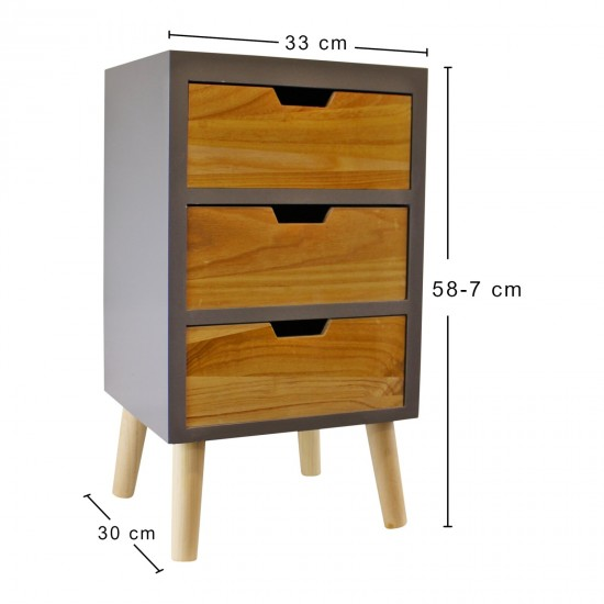 3 Drawer Chest In Grey Finish With Natural Drawers With Removable Legs