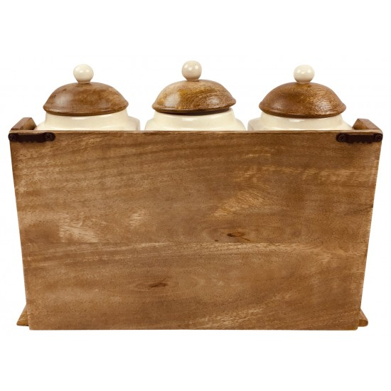 Three Ceramic Jars With Wooden Drawers