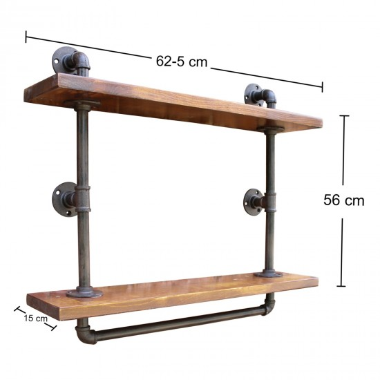 Industrial Pipe Wall Shelf with 2 Shelves