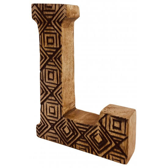 Hand Carved Wooden Geometric Letter L