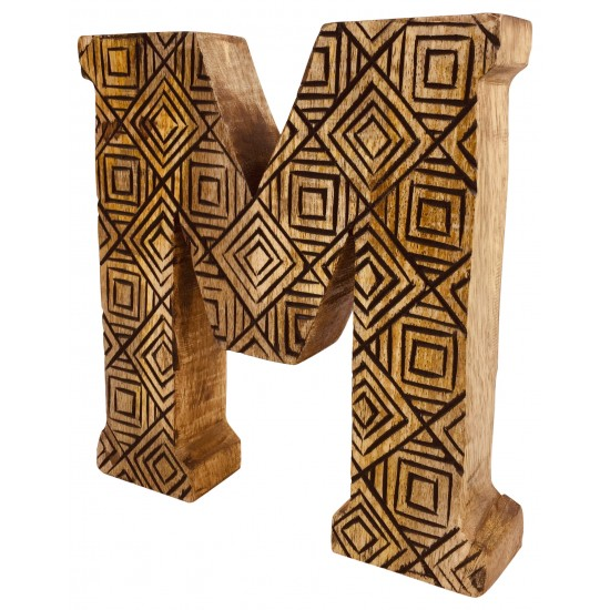 Hand Carved Wooden Geometric Letter M