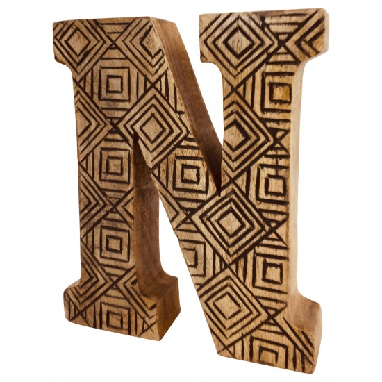 Hand Carved Wooden Geometric Letter N