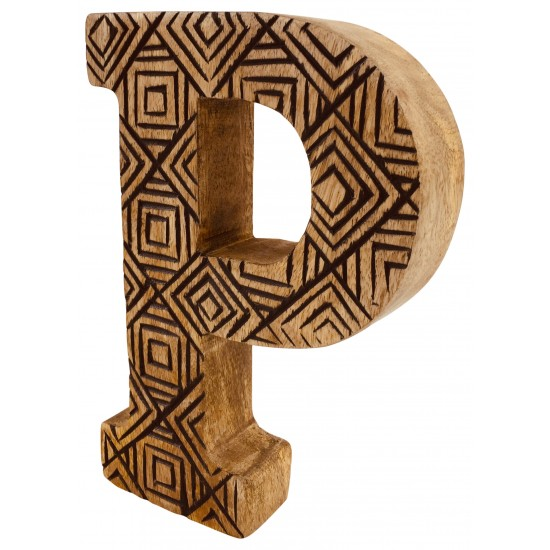 Hand Carved Wooden Geometric Letter P