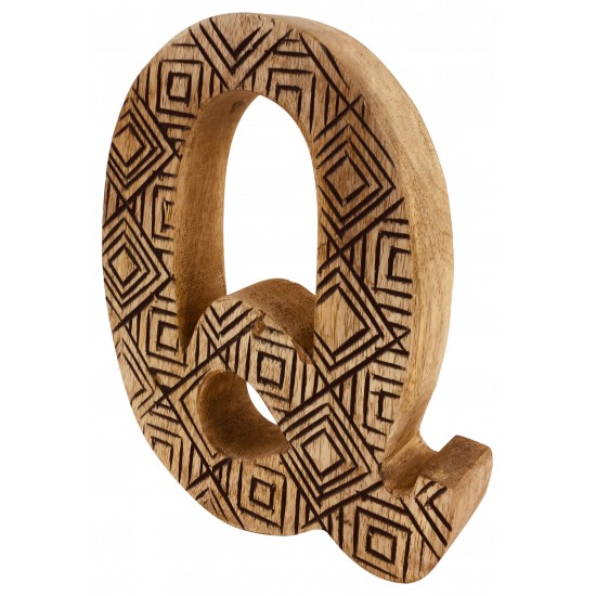 Hand Carved Wooden Geometric Letter Q