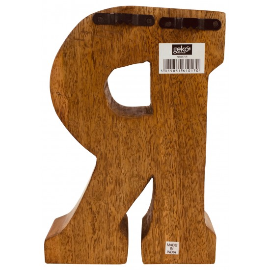 Hand Carved Wooden Geometric Letter R