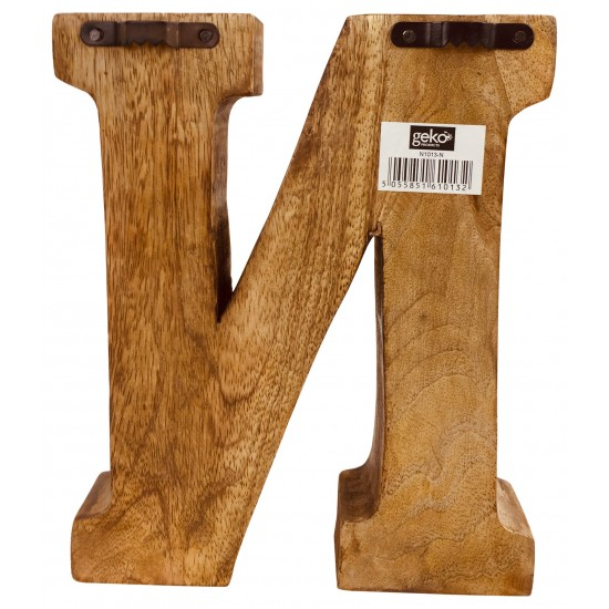 Hand Carved Wooden Geometric Letters Wine