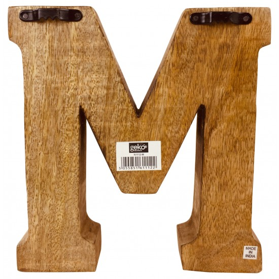 Hand Carved Wooden Embossed Letter M