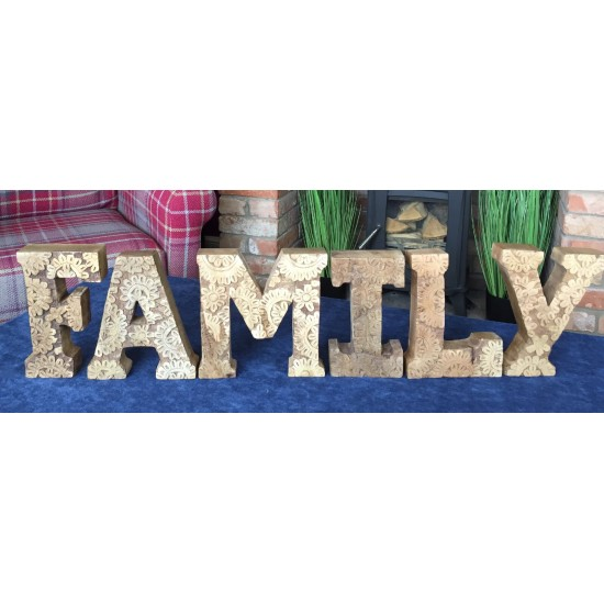 Hand Carved Wooden Flower Letters Family