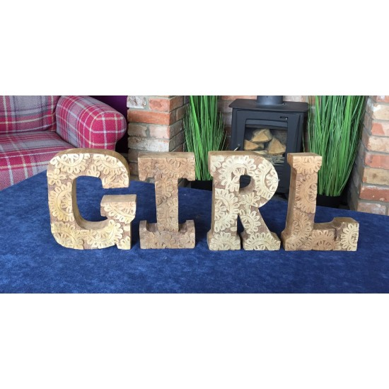 Hand Carved Wooden Flower Letters Girl