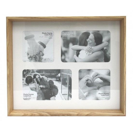 Natural Wood Box Multi Frame For Four Photos
