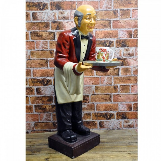 Old Man Waiter with Tray 90cm