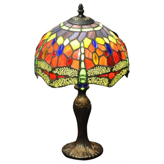 """Red Dragonfly Tiffany Lamp 10"""""""