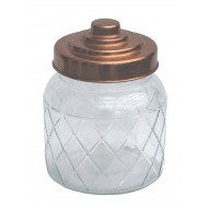 Round Glass Jar With Copper Lid - 5.5 Inch