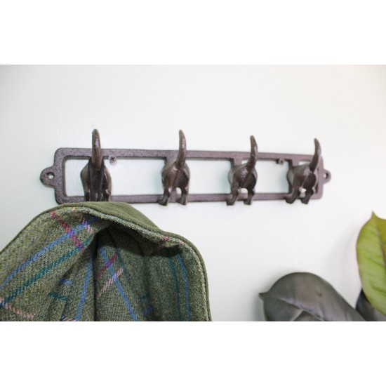 Rustic Cast Iron Wall Hooks, Dogs Tail