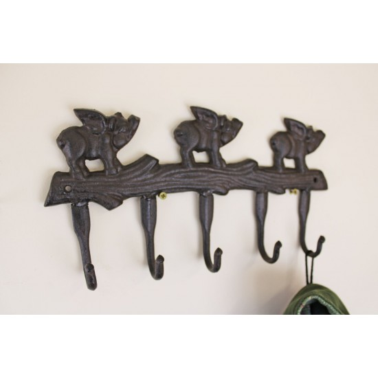 Rustic Cast Iron Wall Hooks, Flying Pigs