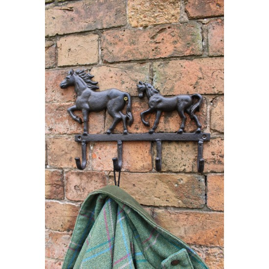 Rustic Cast Iron Wall Hooks, Two Horses