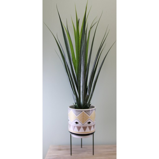 Aztec Inspired Design Ceramic Planter With Stand, Large