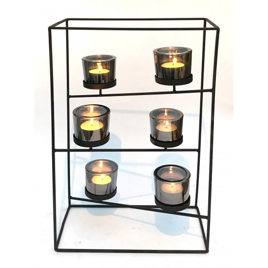 Black Wire Tiered Six Candle Holder With Glass Holders