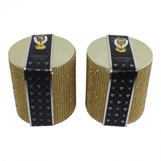 Set of 2 Gold Diamante Decorated Candle Jars, Fragranced