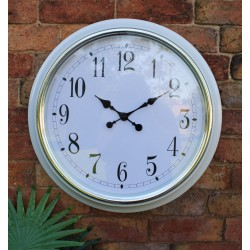 Large Silver Rimmed Wall Clock, White, 56cm