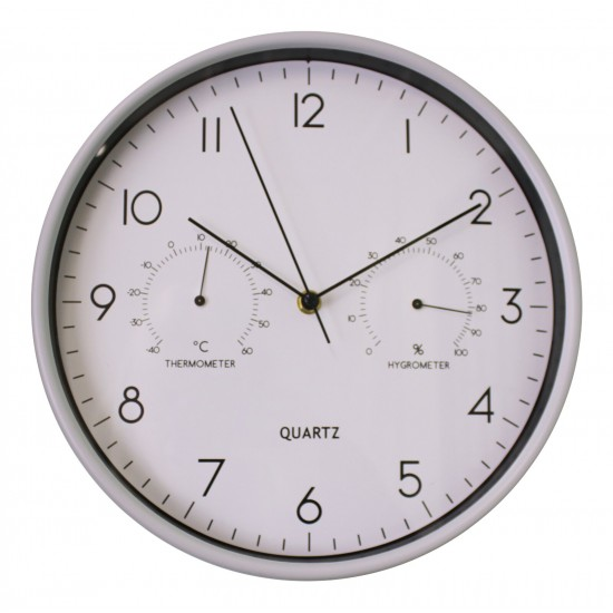 Grey Wall Clock 30cm with Thermometer/Hygrometer
