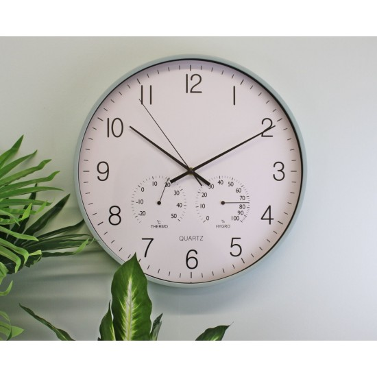 Large Green Wall Clock 40cm With Thermometer/Hygrometer