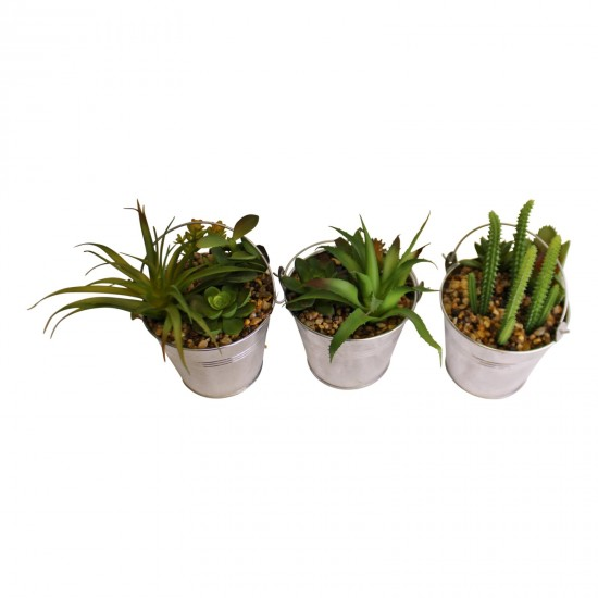 Set of 3 Faux Succulents In Tin Buckets