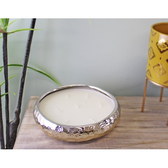 Gold Ceramic Bowl With 7 Wick Sandalwood Fragranced Candle