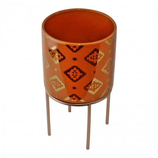 Small Kasbah Design Ceramic Planter, Orange