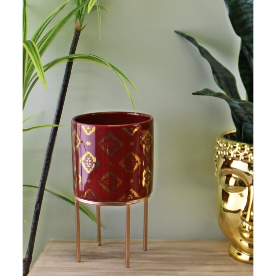 Small Kasbah Design Ceramic Planter, Red