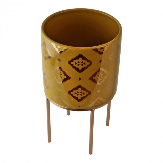 Small Kasbah Design Ceramic Planter, Yellow