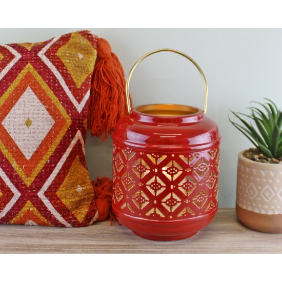 Kasbah Design Candle Lantern With Cutout Pattern In Red