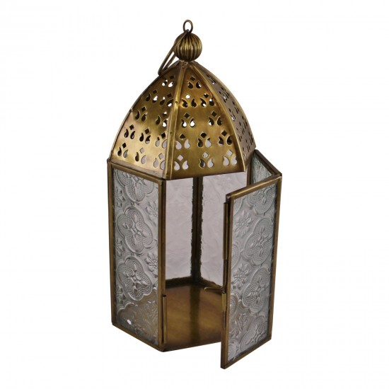 Small Gold Metal Moroccan Style Kasbah Candle Lantern