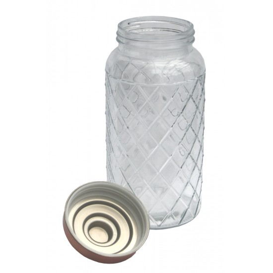 Round Glass Jar With Copper Lid - 9.5 Inch