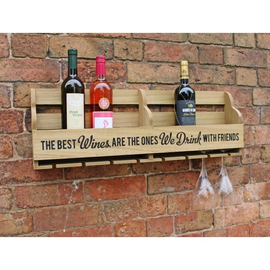 Wall Hanging Wine Bottle and Glass Holder 73cm