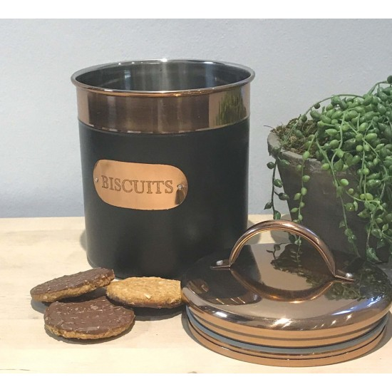 Black And Copper Biscuit Tin