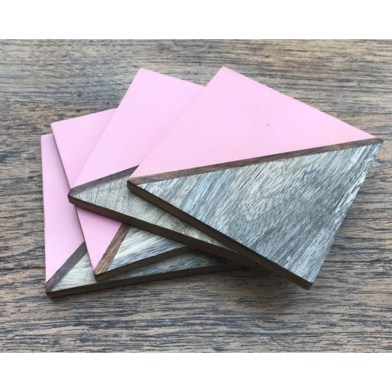 Set Of 4 Square Two Toned Wooden Coasters - Pink