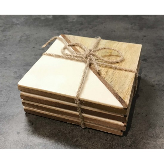 Set Of 4 Square Two Toned Wooden Coasters - White
