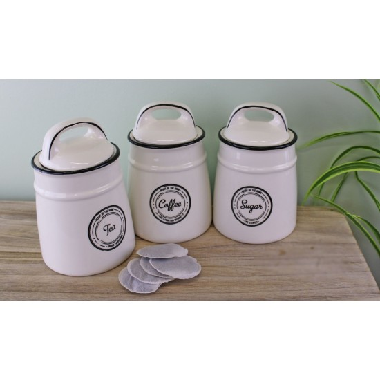 Heart Of The Home Ceramic Tea,Coffee & Sugar Canisters