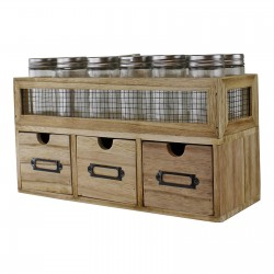 12 Jar Freestanding Spice Rack With Bottles & 3 Drawer Cabinet