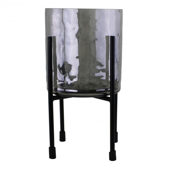 Grey Glass Candle Lantern On Stand