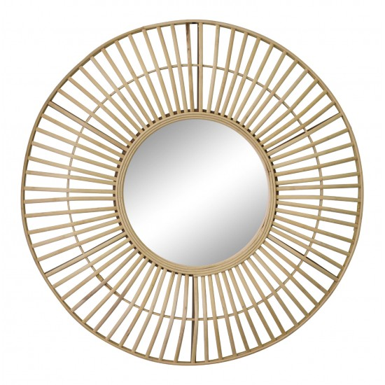Circular Natural Rattan Effect Mirror 70cm