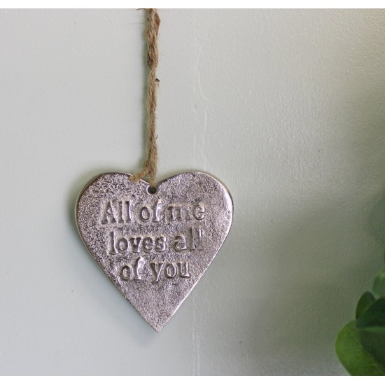 Small Hanging Silver Heart with Love Quote