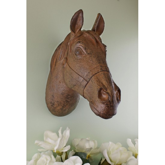 Wall Hanging Horses Head Bust In Rust Finish