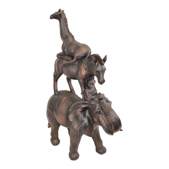Bronze Effect Stacking Animals Ornament