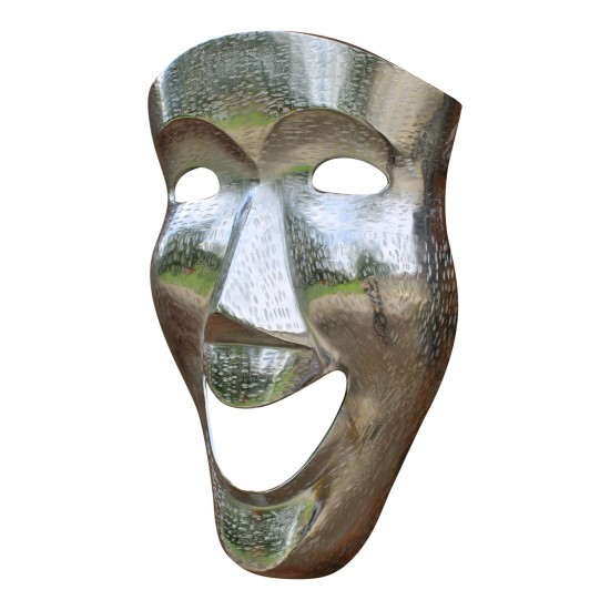Silver Metal Wall Decor, Large Face