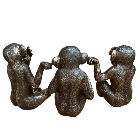 Set Of Three Distressed Resin Monkey Ornaments