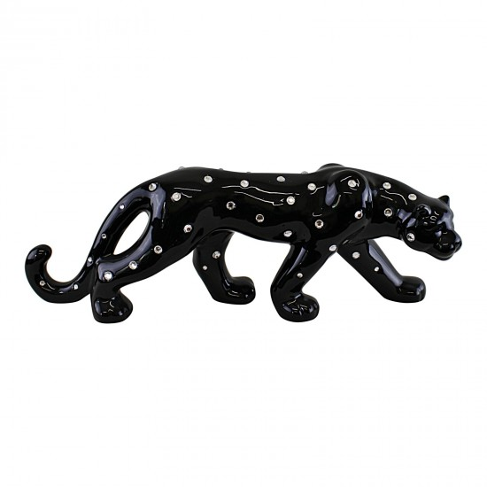 Black Ceramic Leopard With Jewels Ornament 44cm