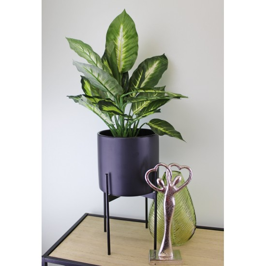 Black Planter With Metal Stand 24cm