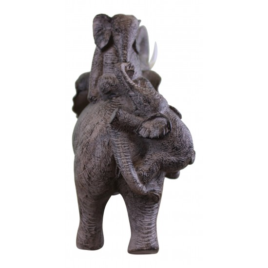 Climbing Elephants Ornament with Natural Effect